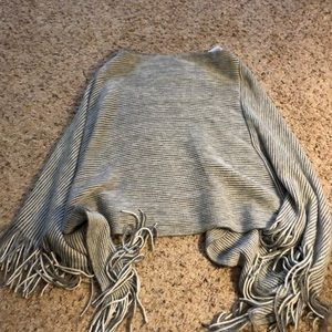 Tops - Grey and White Striped Poncho